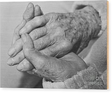 Jan's Hands Wood Print by Roselynne Broussard