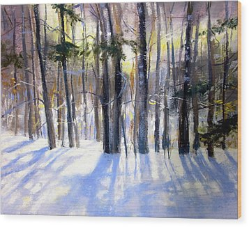 January Blues Wood Print by Jeanne Rosier Smith