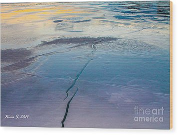 Wood Print featuring the photograph January Sunset On A Frozen Lake by Nina Silver