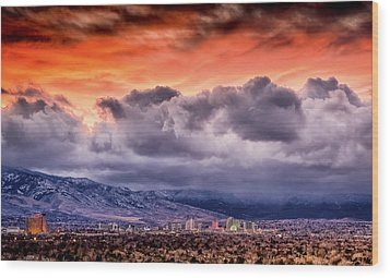 January Sunset Over Reno Wood Print