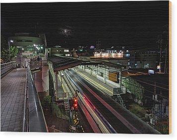 Japan Train Night Wood Print