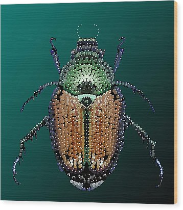 Japanese Beetle Bedazzled II Wood Print by R  Allen Swezey