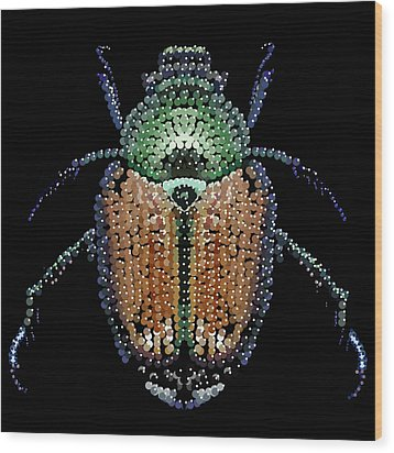 Japanese Beetle Bedazzled Wood Print by R  Allen Swezey