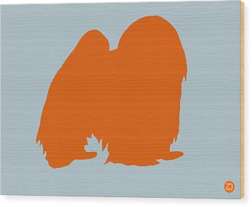 Japanese Chin Orange Wood Print by Naxart Studio