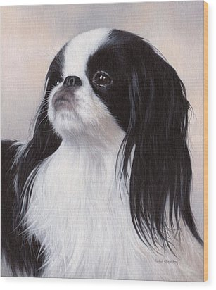 Japanese Chin Painting Wood Print by Rachel Stribbling