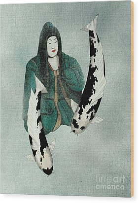 Japanese Empress Shinko Utsuri Mono Painting Wood Print by Gordon Lavender