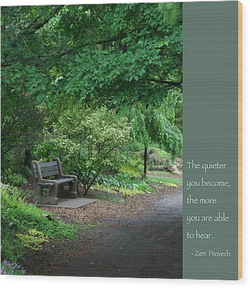 Japanese Garden Bench  Wood Print by Heidi Hermes