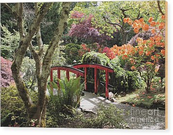 Japanese Garden Bridge With Rhododendrons Wood Print by Carol Groenen