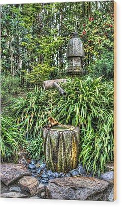 Japanese Garden Fountain Wood Print by Heidi Smith