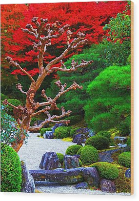 Wood Print featuring the photograph Japanese Garden by Julia Ivanovna Willhite