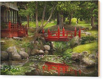 Japanese Garden - Meditation Wood Print by Mike Savad