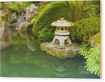 Japanese Garden Wood Print by Nur Roy