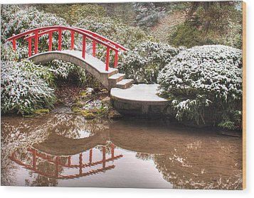 Wood Print featuring the photograph Japanese Garden Snowfall 2 by Jeff Cook