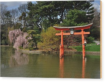 Japanese Garden With Orange Arch Wood Print by Diane Lent