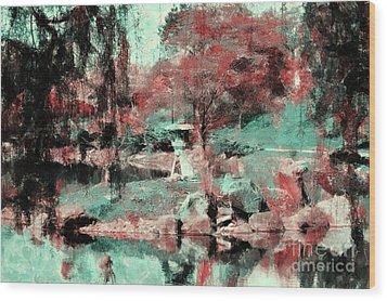 Japanese Garden's Wood Print by Kathleen Struckle