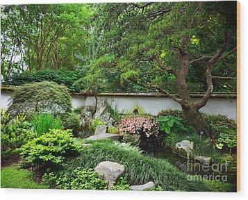 Japanese Gardens Wood Print by Lisa L Silva