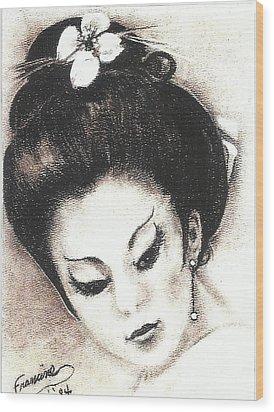 Japanese Girl. Wood Print by Francine Heykoop