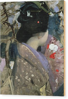 Japanese Lady With A Fan Wood Print by George F Henry