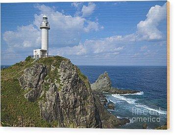 Japanese Lighthouse At Uganzaki Wood Print