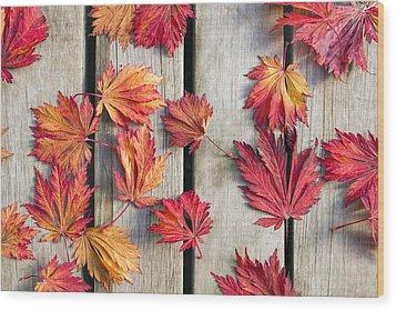 Japanese Maple Tree Leaves On Wood Deck Wood Print