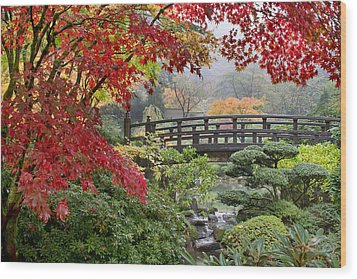 Japanese Maple Trees By The Bridge In Fall Wood Print by JPLDesigns