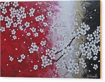 Japanese Plum Blossoms Wood Print by Tomoko Koyama