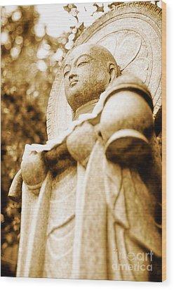 Japanese Statue - Jizo - Guardian Of Children In Japan Wood Print by David Hill