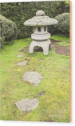 Japanese Stone Lantern Hamilton Gardens New Zealand Wood Print by Colin and Linda McKie