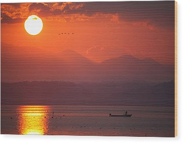 Japanese Sunset Wood Print