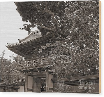 Japanese Tea Garden Pagoda In Sepia. Golden Gate Park Wood Print by Connie Fox