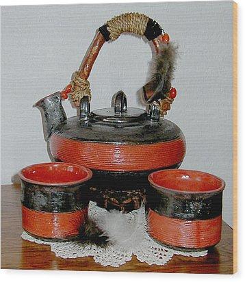 Japanese Tea Set Wood Print by Beth Gramith
