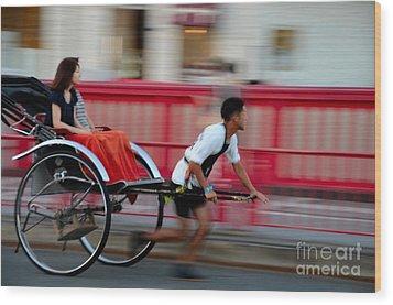 Japanese Tourists Ride Rickshaw In Tokyo Japan Wood Print