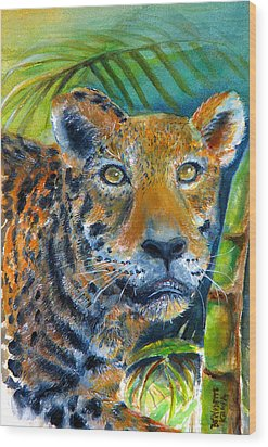 Wood Print featuring the painting Jaquar On The Prowl by Bernadette Krupa