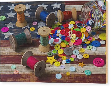 Jar Of Buttons And Spools Of Thread Wood Print by Garry Gay