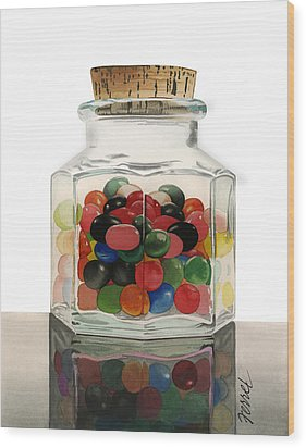 Wood Print featuring the painting Jar Of Jelly Bellies by Ferrel Cordle