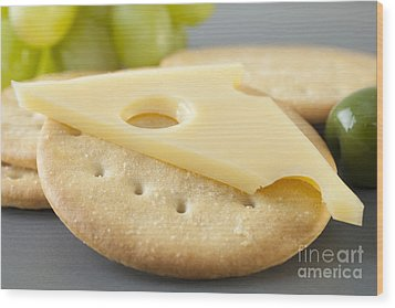 Jarlsberg Cheese And Crackers Wood Print by Colin and Linda McKie