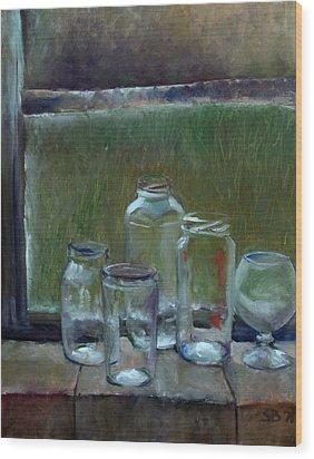 Jars On Summer Windowsil Wood Print