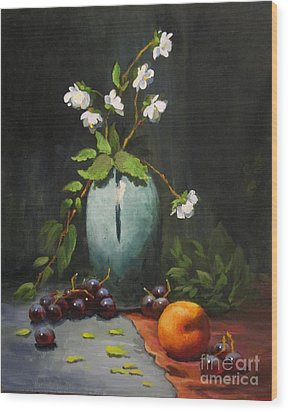 Wood Print featuring the painting Jasmine And Peach by Carol Hart