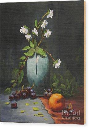 Jasmine And Peach Wood Print by Carol Hart