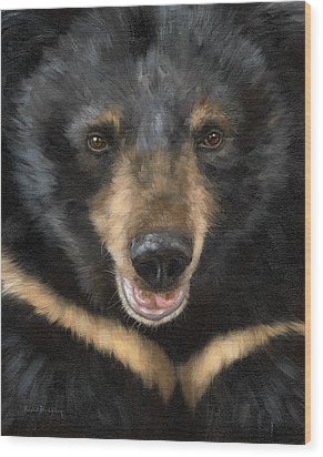 Jasper Moon Bear - In Support Of Animals Asia Wood Print by Rachel Stribbling
