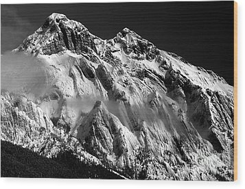 Jasper - Snow Packed Mountain In Spring Wood Print