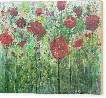 Wood Print featuring the painting Java Poppy Field by Christy  Freeman