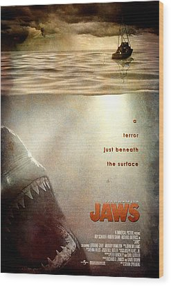 Jaws Custom Poster Wood Print by Jeff Bell