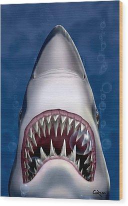 Jaws Great White Shark Art Wood Print
