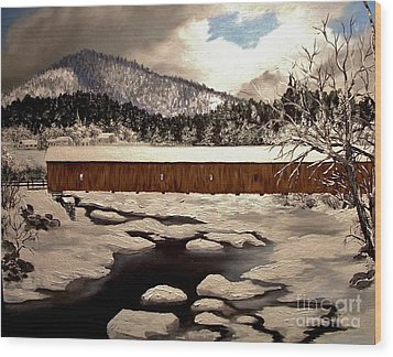 Jay Covered Bridge Wood Print by Peggy Miller