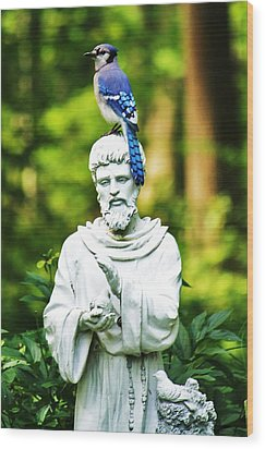 Jay On Statue Wood Print