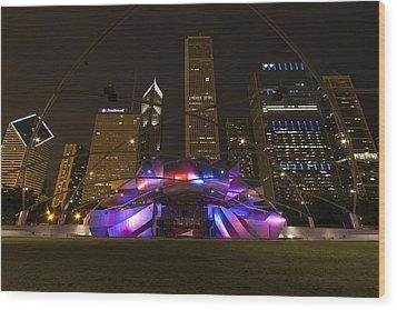 Jay Pritzker Pavilion Chicago Wood Print by Adam Romanowicz