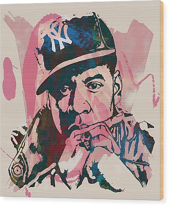 Jay-z Stylised Etching Pop Art Poster Wood Print by Kim Wang