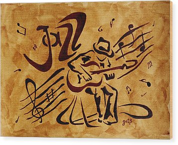 Jazz Abstract Coffee Painting Wood Print by Georgeta  Blanaru