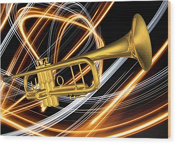 Jazz Art Trumpet Wood Print by Louis Ferreira